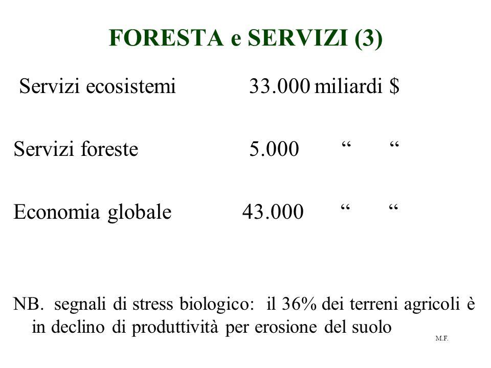 """M.F. FORESTA e SERVIZI (3) Servizi ecosistemi 33.000 miliardi $ Servizi foreste 5.000 """" """" Economia globale 43.000 """" """" NB. segnali di stress biologico:"""