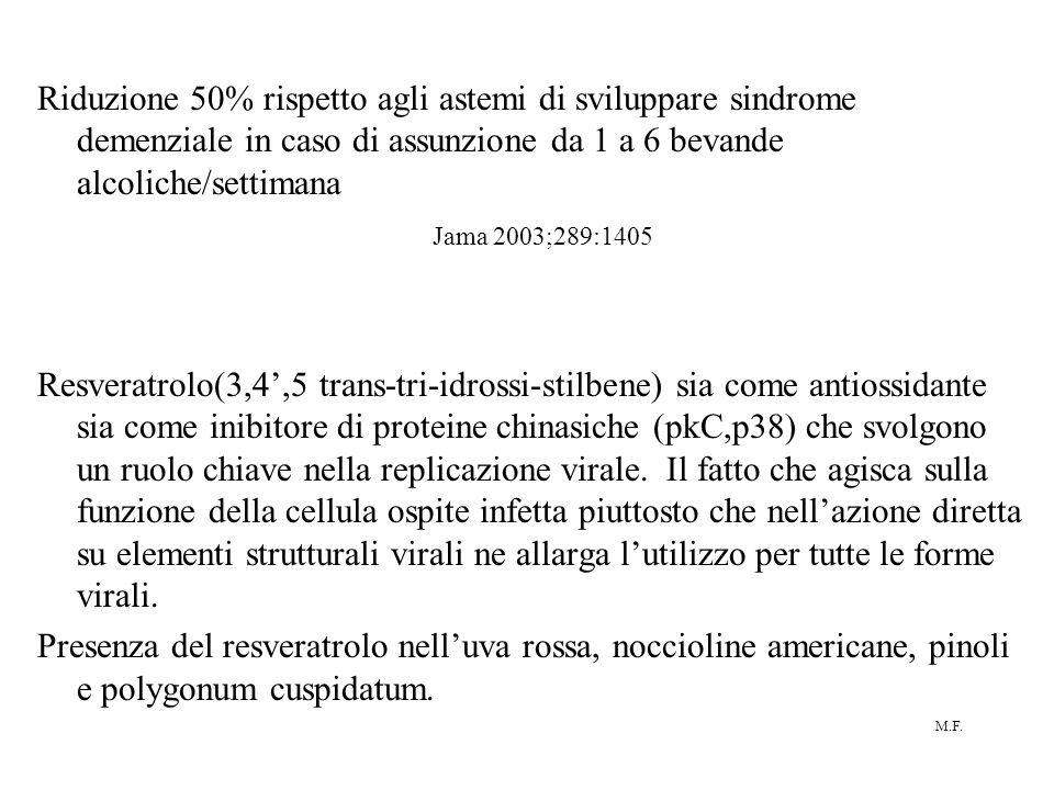 M.F. Riduzione 50% rispetto agli astemi di sviluppare sindrome demenziale in caso di assunzione da 1 a 6 bevande alcoliche/settimana Jama 2003;289:140