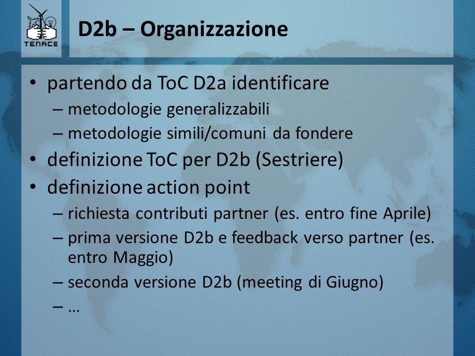 D2b – Organizzazione partendo da ToC D2a identificare – metodologie generalizzabili – metodologie simili/comuni da fondere definizione ToC per D2b (Se