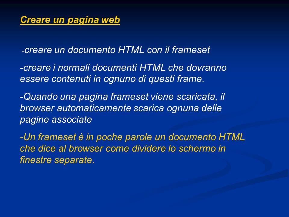 Creare un pagina web - creare un documento HTML con il frameset -creare i normali documenti HTML che dovranno essere contenuti in ognuno di questi fra
