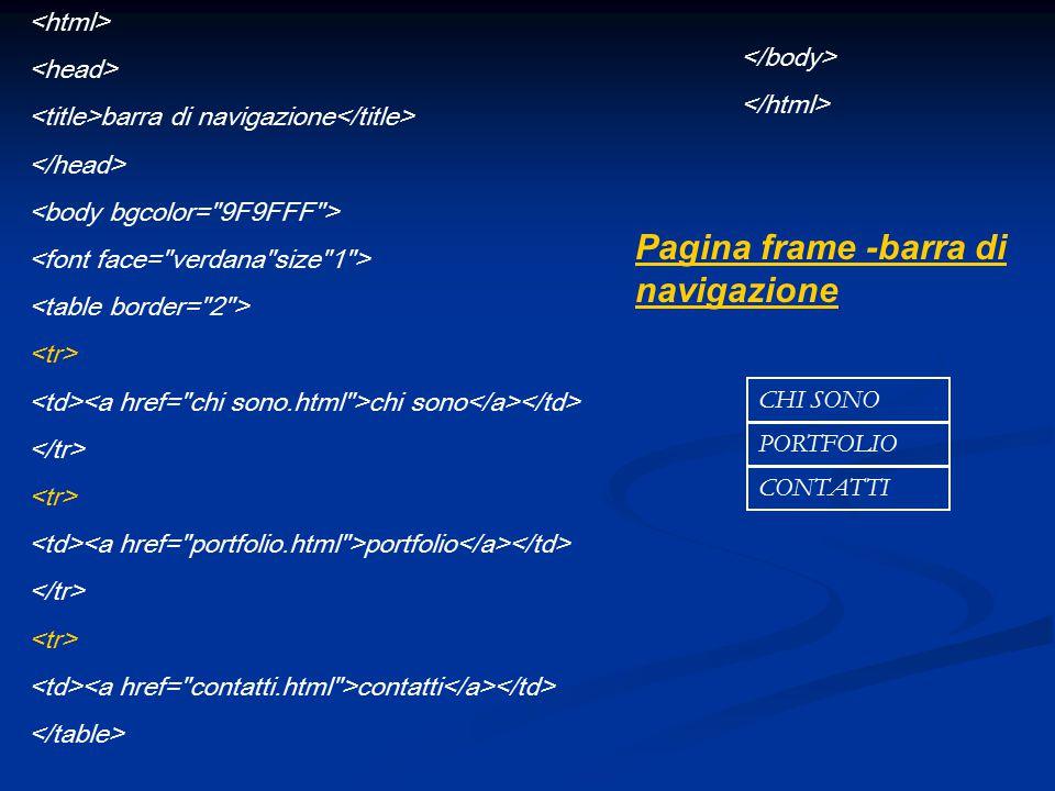 Pagina frame -barra di navigazione barra di navigazione chi sono portfolio contatti CHI SONO PORTFOLIO CONTATTI