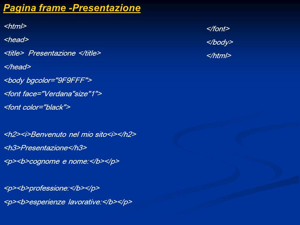 Pagina frame -Presentazione Presentazione Benvenuto nel mio sito Presentazione cognome e nome: professione: esperienze lavorative: