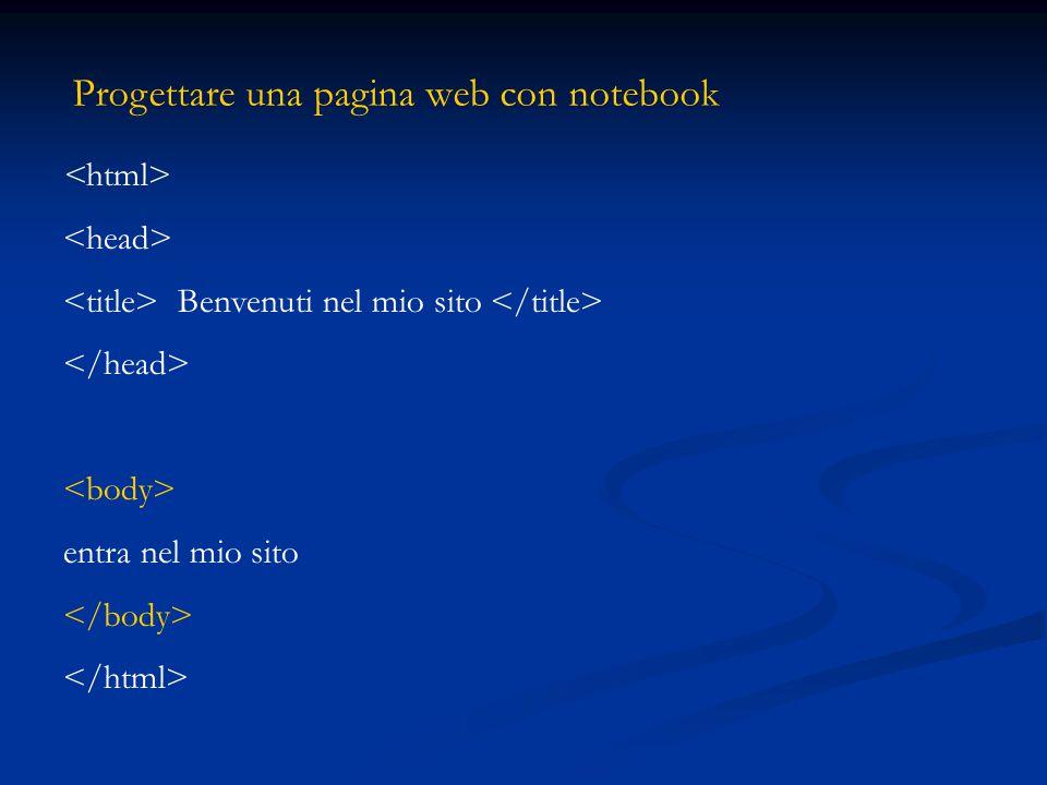 Progettare una pagina web con notebook Benvenuti nel mio sito entra nel mio sito