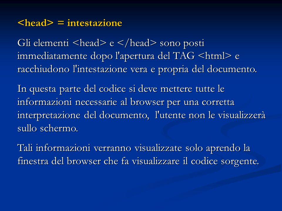L intestazione fornisce: il titolo della pagina e le parole chiave per i motori di ricerca.