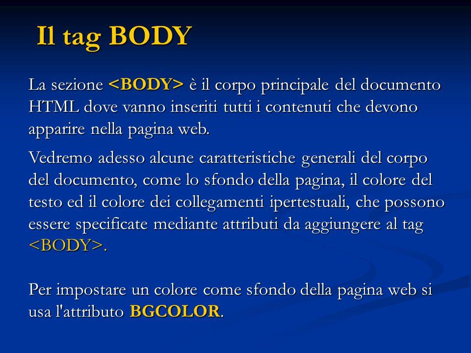 La sezione è il corpo principale del documento HTML dove vanno inseriti tutti i contenuti che devono apparire nella pagina web. Vedremo adesso alcune