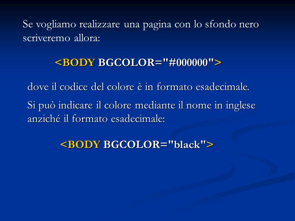 Se vogliamo realizzare una pagina con lo sfondo nero scriveremo allora: dove il codice del colore è in formato esadecimale. Si può indicare il colore