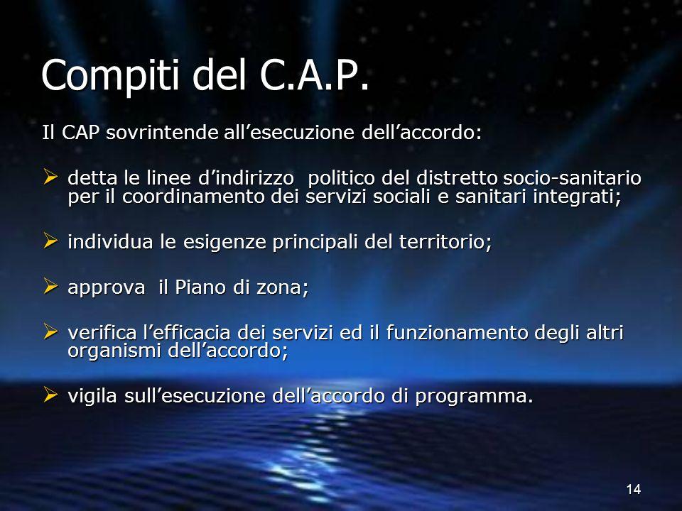 14 Compiti del C.A.P. Il CAP sovrintende all'esecuzione dell'accordo:  detta le linee d'indirizzo politico del distretto socio-sanitario per il coord
