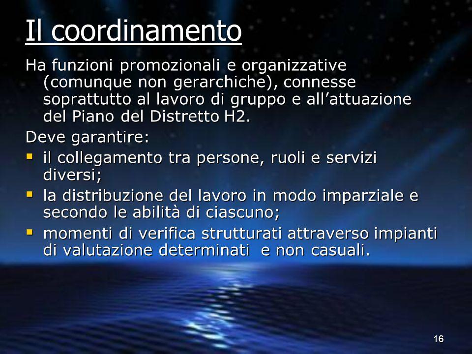16 Ha funzioni promozionali e organizzative (comunque non gerarchiche), connesse soprattutto al lavoro di gruppo e all'attuazione del Piano del Distre