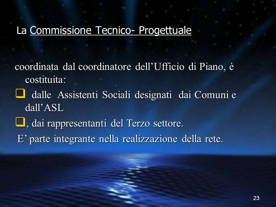 23 La Commissione Tecnico- Progettuale coordinata dal coordinatore dell'Ufficio di Piano, è costituita:  dalle Assistenti Sociali designati dai Comun
