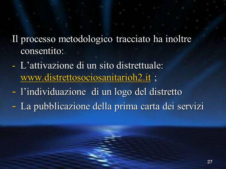 27 Il processo metodologico tracciato ha inoltre consentito: - L'attivazione di un sito distrettuale: www.distrettosociosanitarioh2.it ; www.distretto