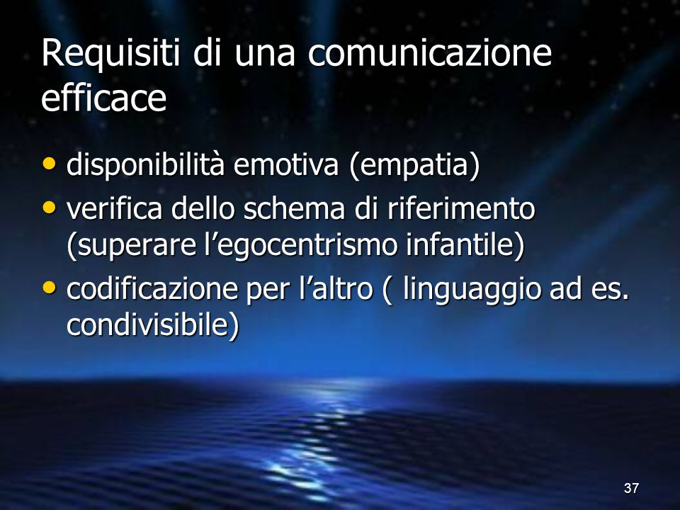 37 Requisiti di una comunicazione efficace disponibilità emotiva (empatia) disponibilità emotiva (empatia) verifica dello schema di riferimento (super