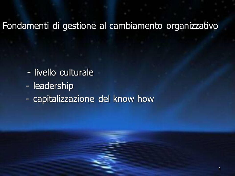 4 Fondamenti di gestione al cambiamento organizzativo - livello culturale - livello culturale -leadership -capitalizzazione del know how