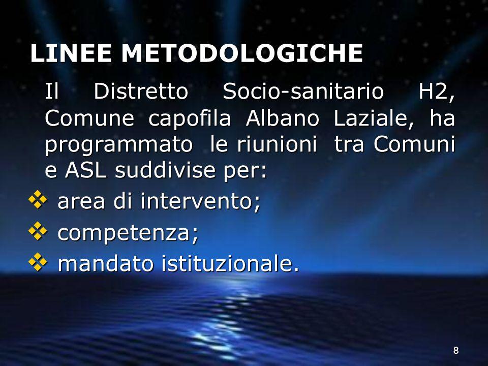 8 LINEE METODOLOGICHE Il Distretto Socio-sanitario H2, Comune capofila Albano Laziale, ha programmato le riunioni tra Comuni e ASL suddivise per:  ar