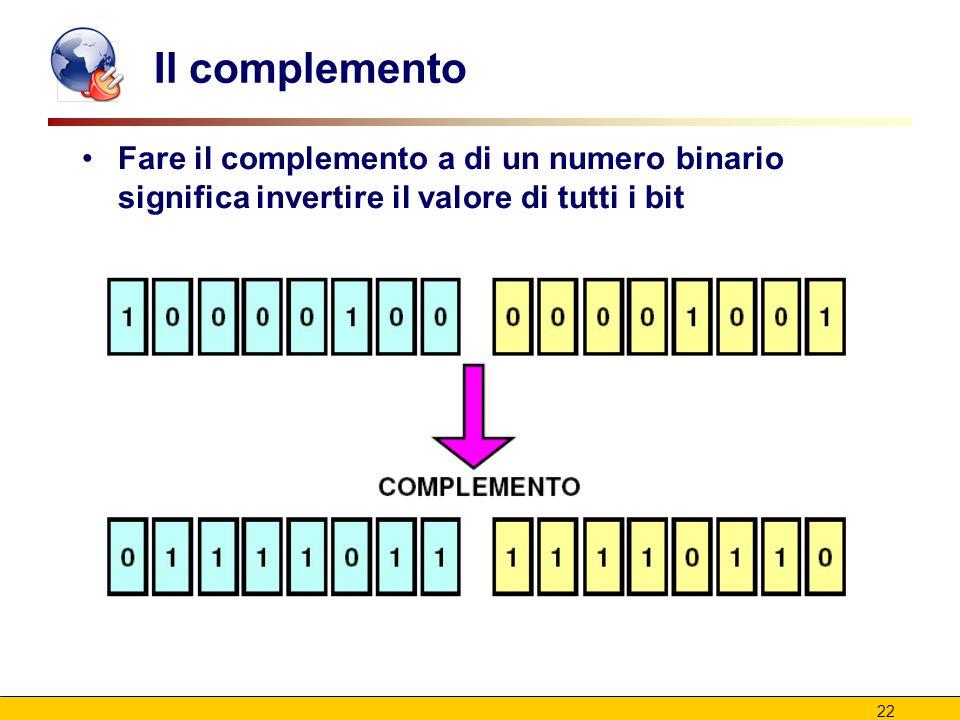 22 Il complemento Fare il complemento a di un numero binario significa invertire il valore di tutti i bit