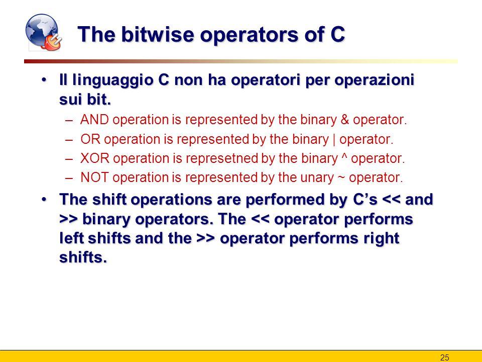 25 The bitwise operators of C Il linguaggio C non ha operatori per operazioni sui bit.Il linguaggio C non ha operatori per operazioni sui bit. –AND op