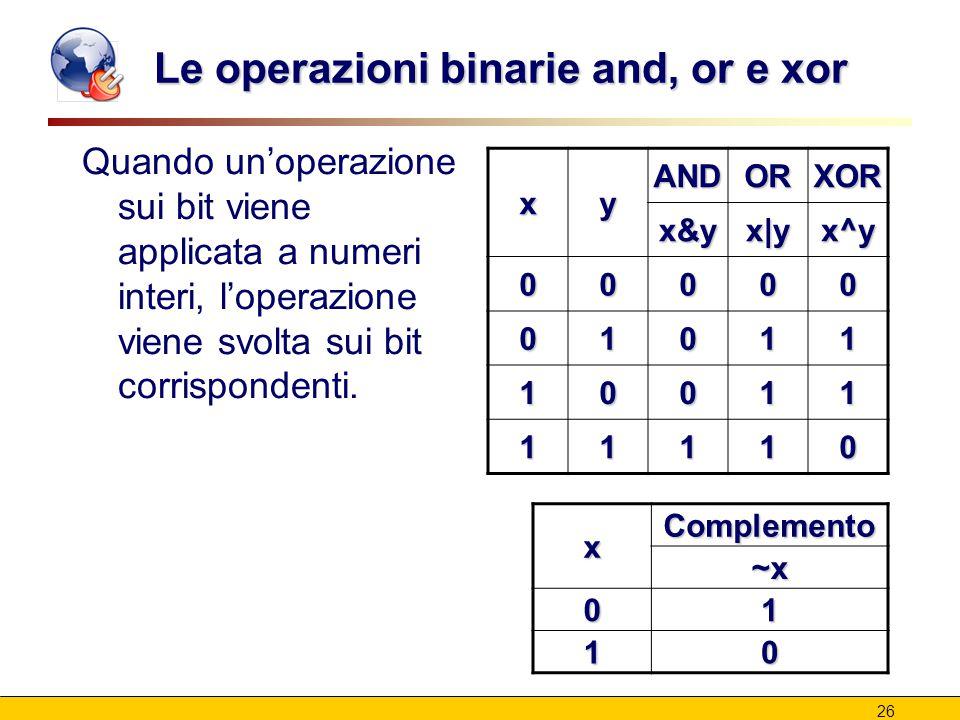 26 Le operazioni binarie and, or e xor Quando un'operazione sui bit viene applicata a numeri interi, l'operazione viene svolta sui bit corrispondenti.