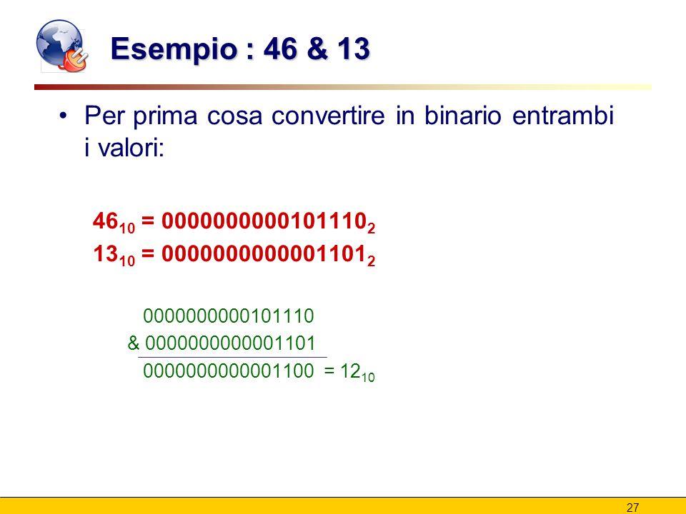 27 Esempio : 46 & 13 Per prima cosa convertire in binario entrambi i valori: 46 10 = 0000000000101110 2 13 10 = 0000000000001101 2 0000000000101110 &