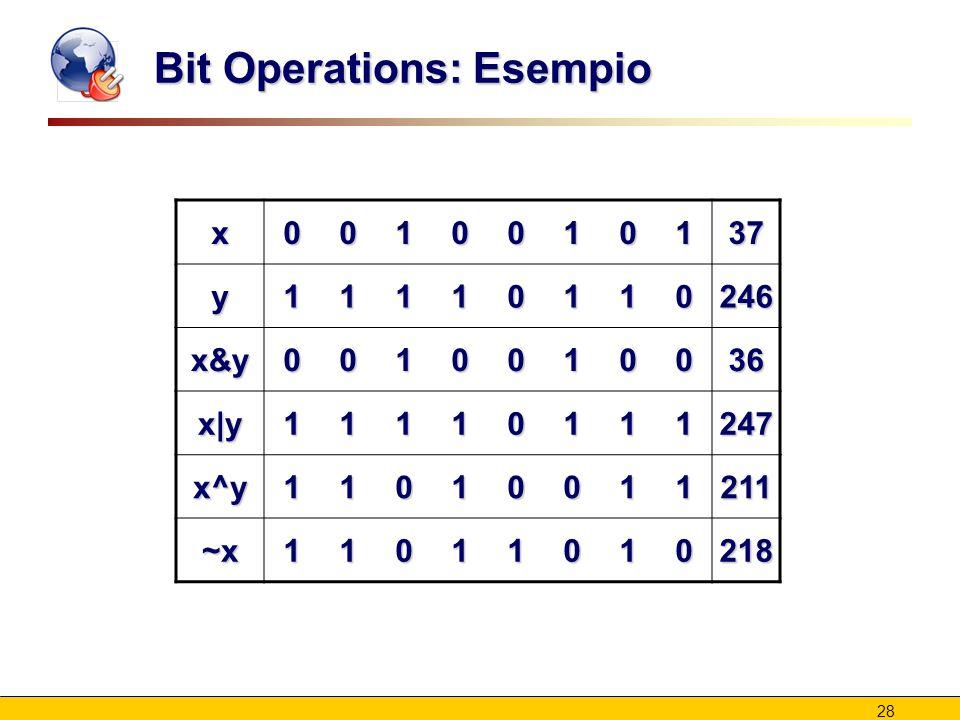 28 Bit Operations: Esempio x0010010137 y11110110246 x&y0010010036 x|y11110111247 x^y11010011211 ~x11011010218