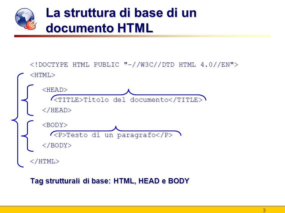 3 La struttura di base di un documento HTML <HTML><HEAD> Titolo del documento Titolo del documento </HEAD><BODY> Testo di un paragrafo Testo di un paragrafo </BODY></HTML> Tag strutturali di base: HTML, HEAD e BODY