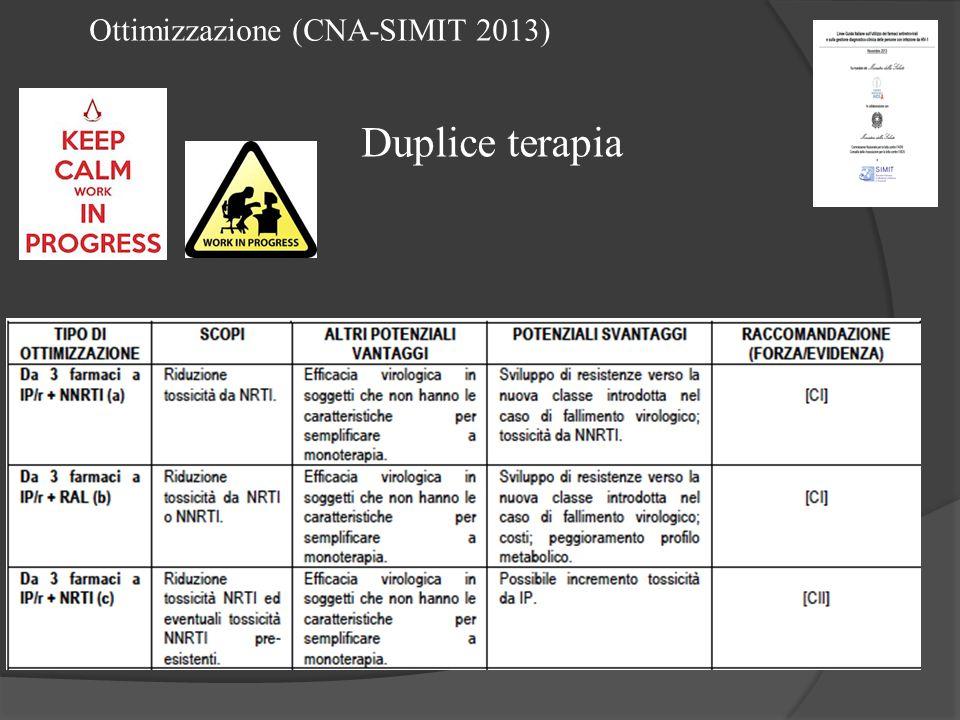 Ottimizzazione (CNA-SIMIT 2013) Duplice terapia