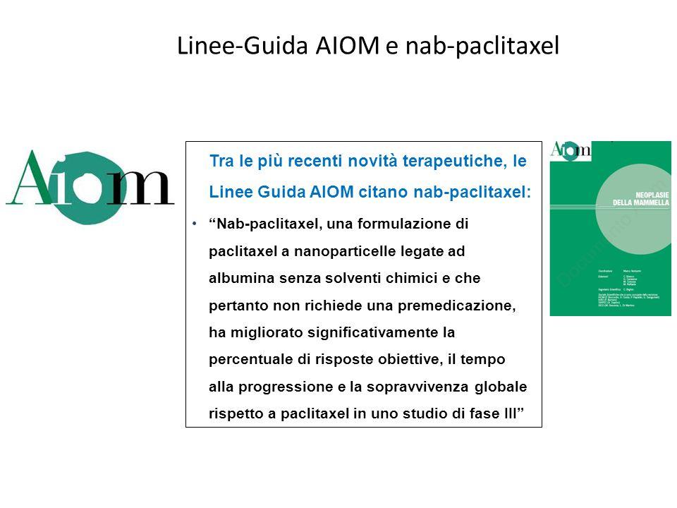 """Linee-Guida AIOM e nab-paclitaxel Tra le più recenti novità terapeutiche, le Linee Guida AIOM citano nab-paclitaxel: """"Nab-paclitaxel, una formulazione"""