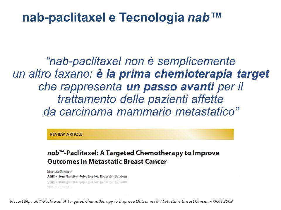 """""""nab-paclitaxel non è semplicemente un altro taxano: è la prima chemioterapia target che rappresenta un passo avanti per il trattamento delle pazienti"""