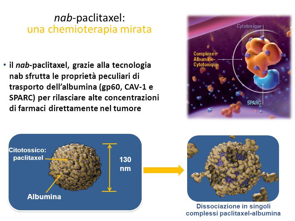 nab-paclitaxel: una chemioterapia mirata il nab-paclitaxel, grazie alla tecnologia nab sfrutta le proprietà peculiari di trasporto dell'albumina (gp60