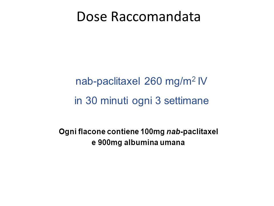 Dose Raccomandata Ogni flacone contiene 100mg nab-paclitaxel e 900mg albumina umana nab-paclitaxel 260 mg/m 2 IV in 30 minuti ogni 3 settimane