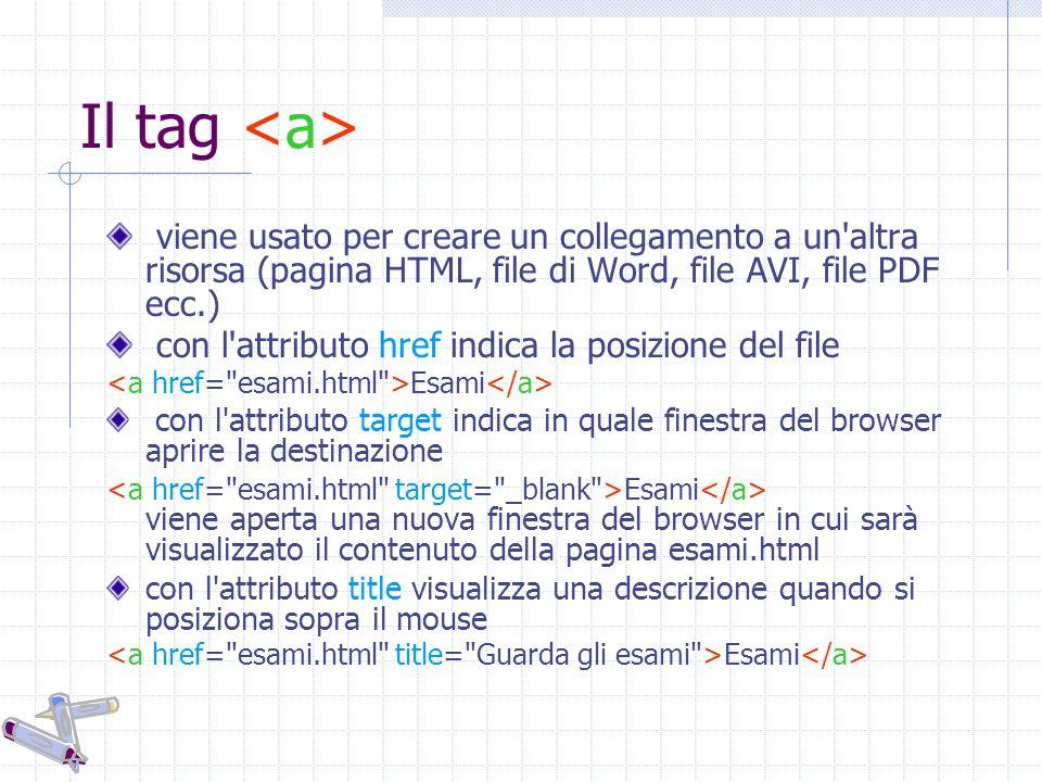 Il tag viene usato per creare un collegamento a un altra risorsa (pagina HTML, file di Word, file AVI, file PDF ecc.) con l attributo href indica la posizione del file Esami con l attributo target indica in quale finestra del browser aprire la destinazione Esami viene aperta una nuova finestra del browser in cui sarà visualizzato il contenuto della pagina esami.html con l attributo title visualizza una descrizione quando si posiziona sopra il mouse Esami