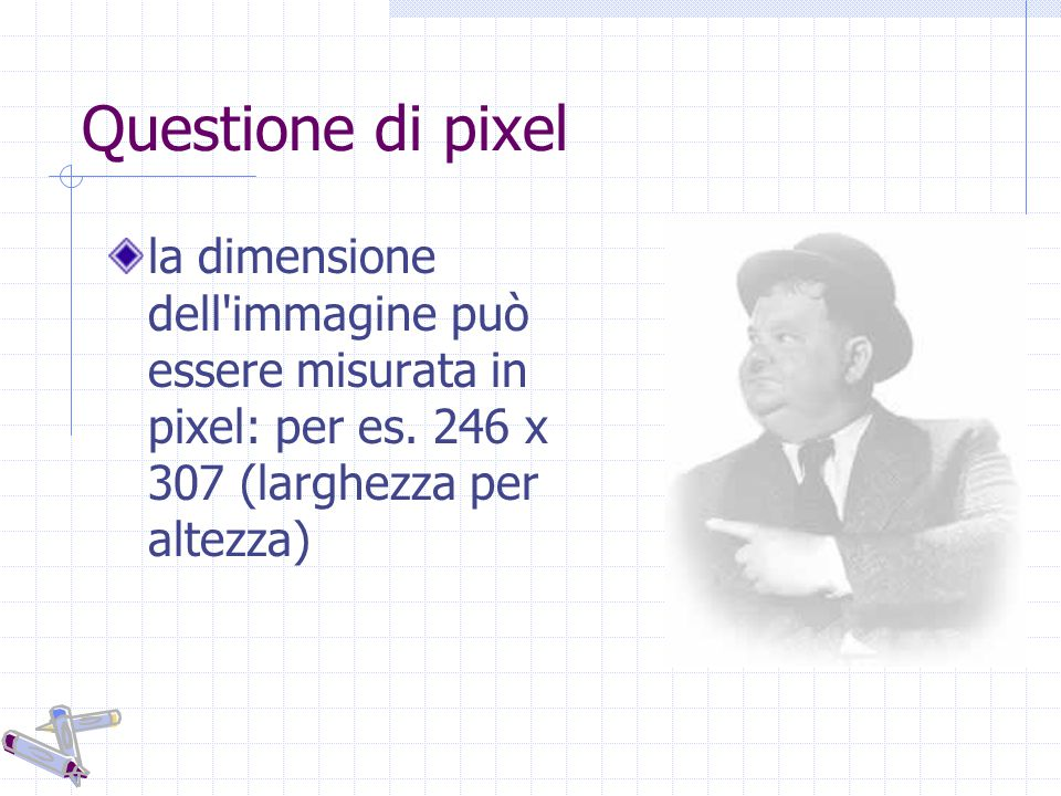 Questione di pixel la dimensione dell'immagine può essere misurata in pixel: per es. 246 x 307 (larghezza per altezza)