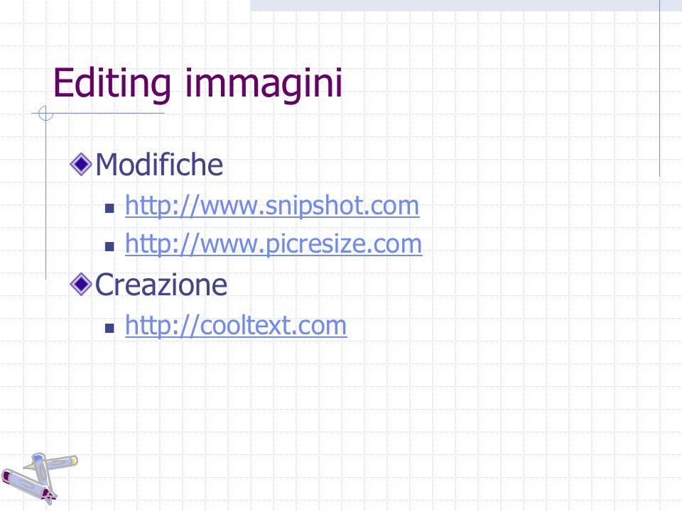 Editing immagini Modifiche http://www.snipshot.com http://www.picresize.com Creazione http://cooltext.com