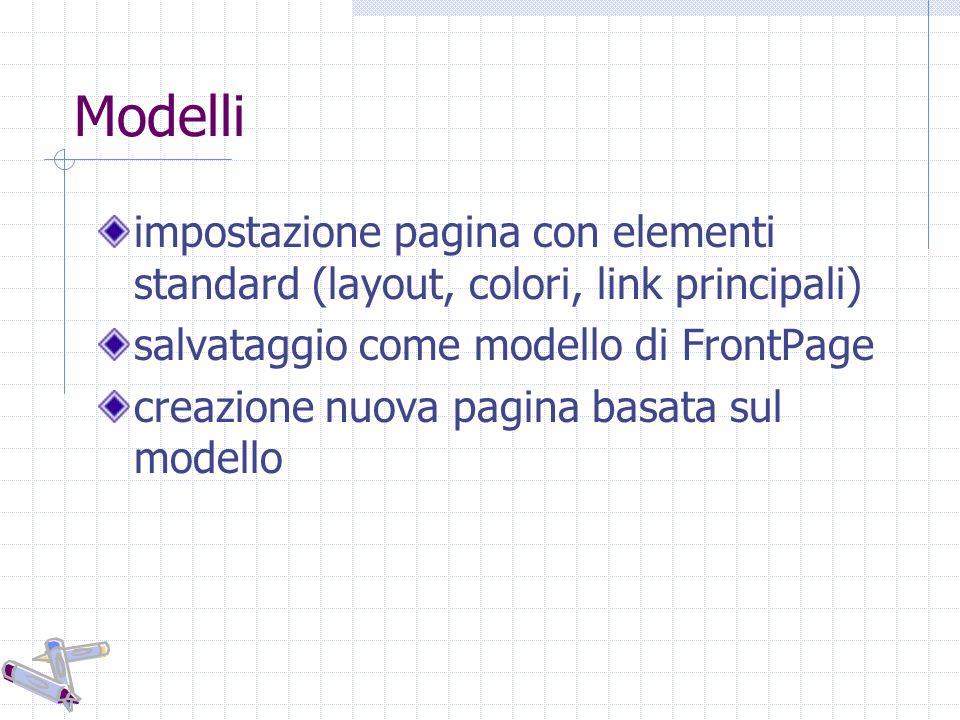 Modelli impostazione pagina con elementi standard (layout, colori, link principali) salvataggio come modello di FrontPage creazione nuova pagina basat