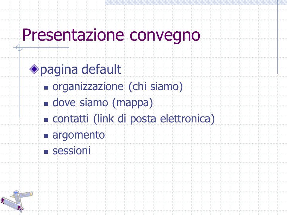 Presentazione convegno pagina default organizzazione (chi siamo) dove siamo (mappa) contatti (link di posta elettronica) argomento sessioni