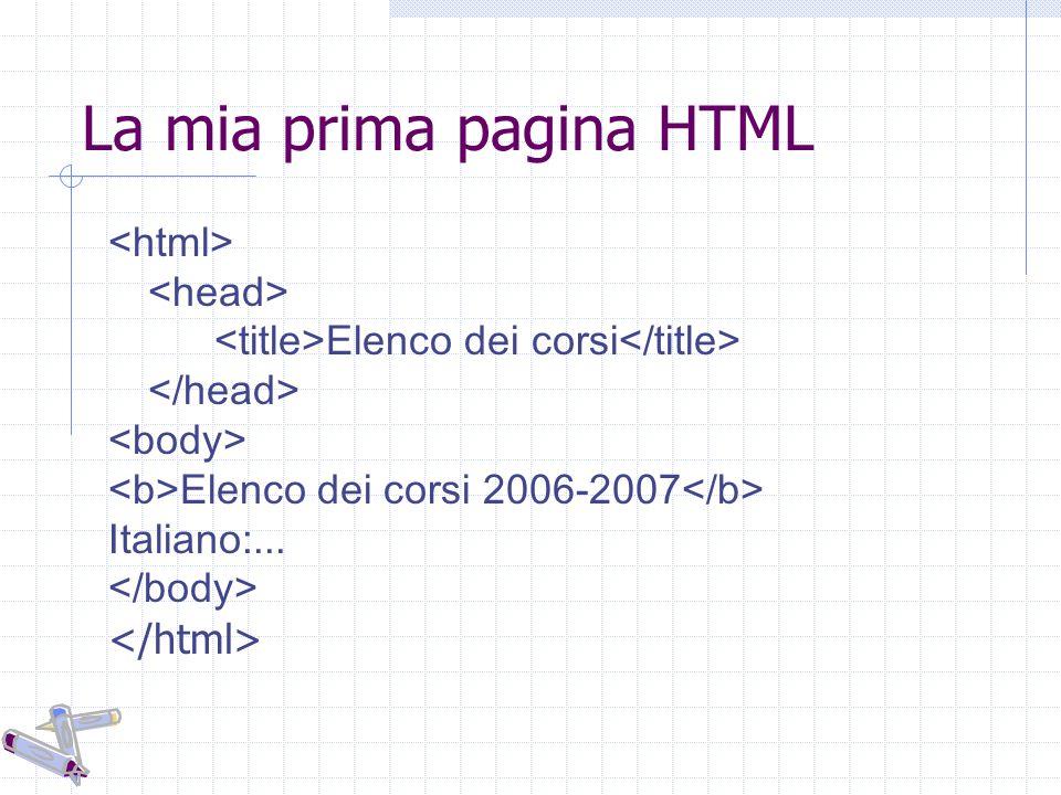 La mia prima pagina HTML Elenco dei corsi Elenco dei corsi 2006-2007 Italiano:...