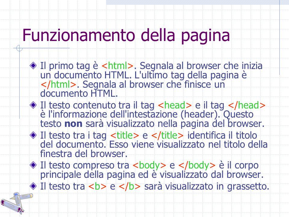 Funzionamento della pagina Il primo tag è. Segnala al browser che inizia un documento HTML. L'ultimo tag della pagina è. Segnala al browser che finisc