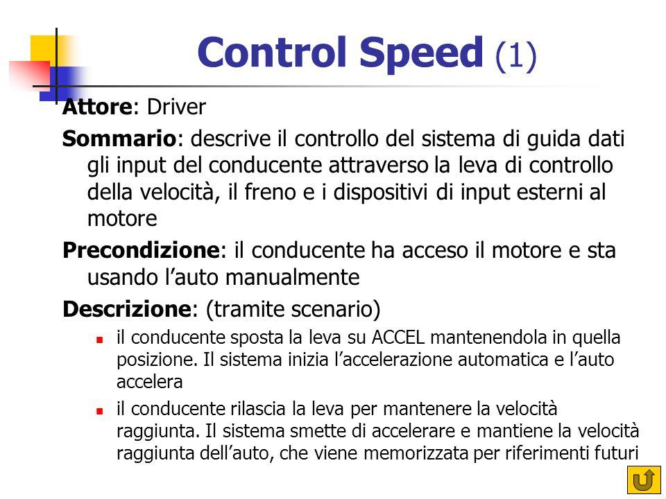 Control Speed (1) Attore: Driver Sommario: descrive il controllo del sistema di guida dati gli input del conducente attraverso la leva di controllo della velocità, il freno e i dispositivi di input esterni al motore Precondizione: il conducente ha acceso il motore e sta usando l'auto manualmente Descrizione: (tramite scenario) il conducente sposta la leva su ACCEL mantenendola in quella posizione.