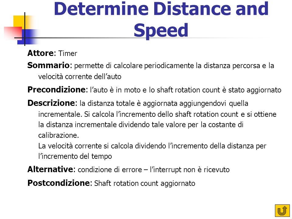 Determine Distance and Speed Attore: Timer Sommario: permette di calcolare periodicamente la distanza percorsa e la velocità corrente dell'auto Precondizione: l'auto è in moto e lo shaft rotation count è stato aggiornato Descrizione: la distanza totale è aggiornata aggiungendovi quella incrementale.