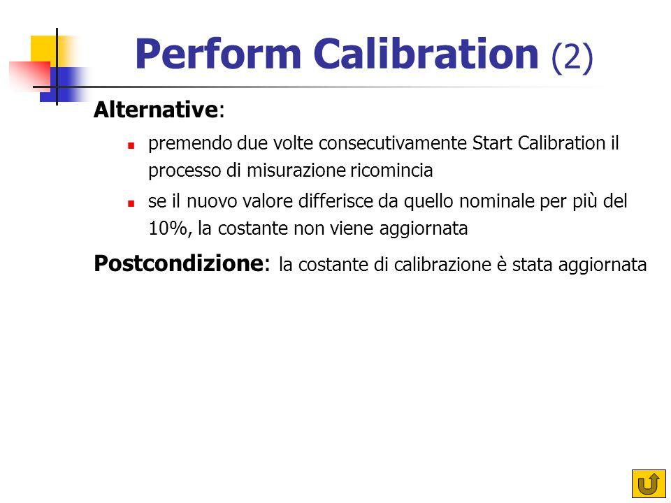Perform Calibration (2) Alternative: premendo due volte consecutivamente Start Calibration il processo di misurazione ricomincia se il nuovo valore differisce da quello nominale per più del 10%, la costante non viene aggiornata Postcondizione: la costante di calibrazione è stata aggiornata