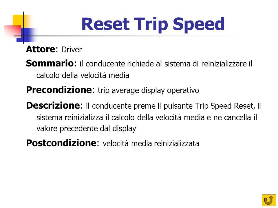 Reset Trip Speed Attore: Driver Sommario: il conducente richiede al sistema di reinizializzare il calcolo della velocità media Precondizione: trip ave