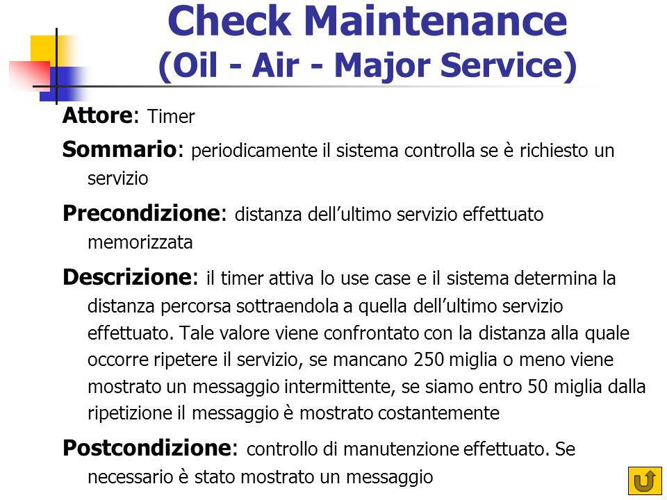 Check Maintenance (Oil - Air - Major Service) Attore: Timer Sommario: periodicamente il sistema controlla se è richiesto un servizio Precondizione: di