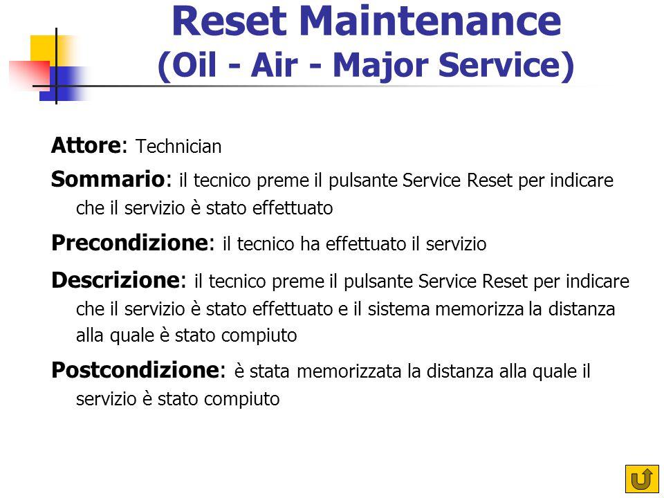 Reset Maintenance (Oil - Air - Major Service) Attore: Technician Sommario: il tecnico preme il pulsante Service Reset per indicare che il servizio è s