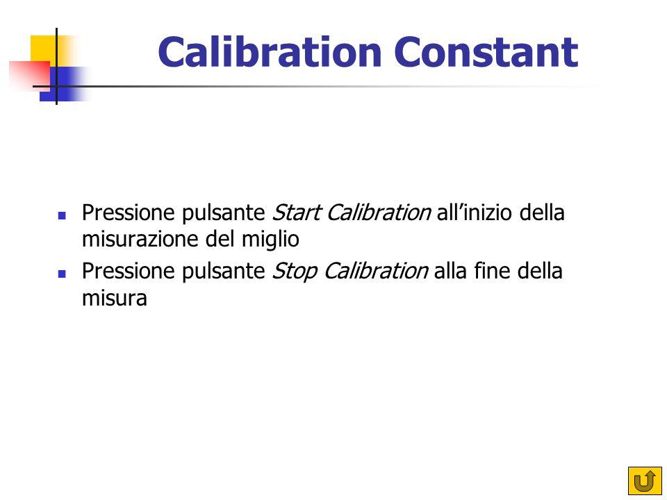 Pressione pulsante Start Calibration all'inizio della misurazione del miglio Pressione pulsante Stop Calibration alla fine della misura Calibration Constant