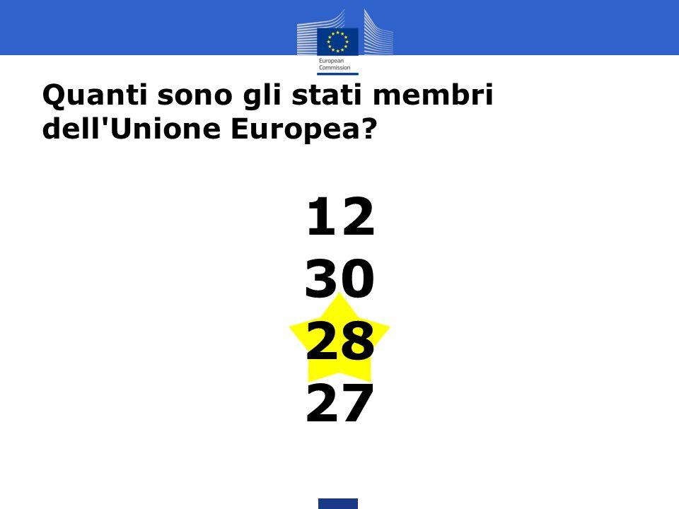 Quanti sono gli stati membri dell'Unione Europea? 12 30 28 27