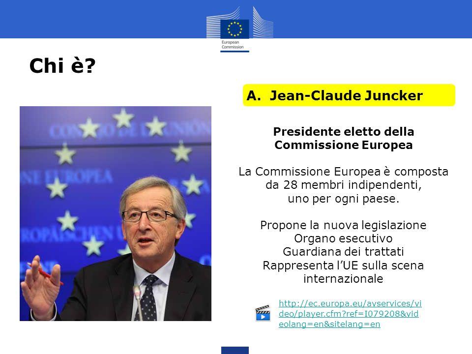 Chi è? A.Jean-Claude Juncker B. Herman Van Rompuy C. Mario Monti D. Martin Schulz Presidente eletto della Commissione Europea La Commissione Europea è
