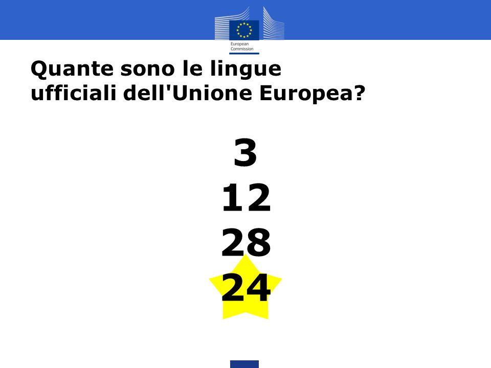 3 12 28 24 Quante sono le lingue ufficiali dell'Unione Europea?