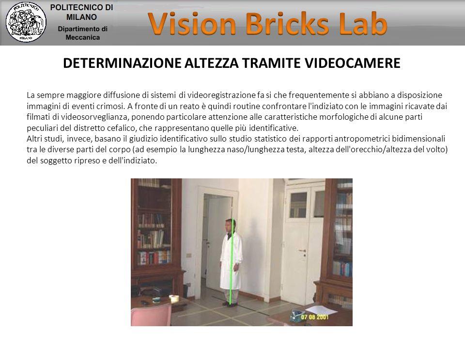 DETERMINAZIONE ALTEZZA TRAMITE VIDEOCAMERE La sempre maggiore diffusione di sistemi di videoregistrazione fa si che frequentemente si abbiano a dispos