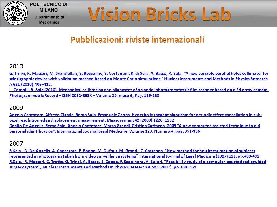 """2010 G. Trinci, R. Massari, M. Scandellari, S. Boccaline, S. Costantini, R. di Sera, A. Basso, R. Sala. """"A new variable parallel holes collimator for"""