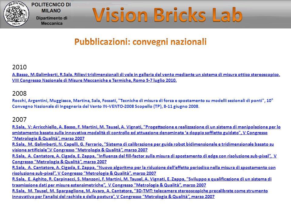 2010 A.Basso, M.Galimberti, R.Sala. Rilievi tridimensionali di vele in galleria del vento mediante un sistema di misura ottico stereoscopico. VIII Con