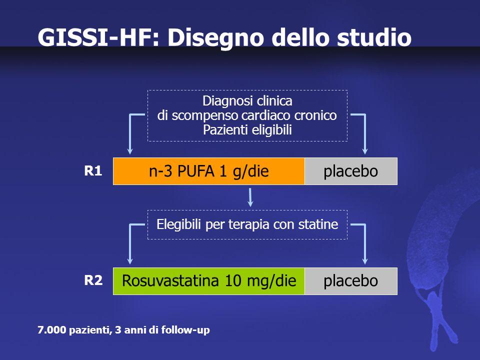 GISSI-HF: Studio Centri di reclutamento: 348 Avanzamento al 29 febbraio 2004 Popolazione: R1 - n-3 PUFA vs Placebo: n.