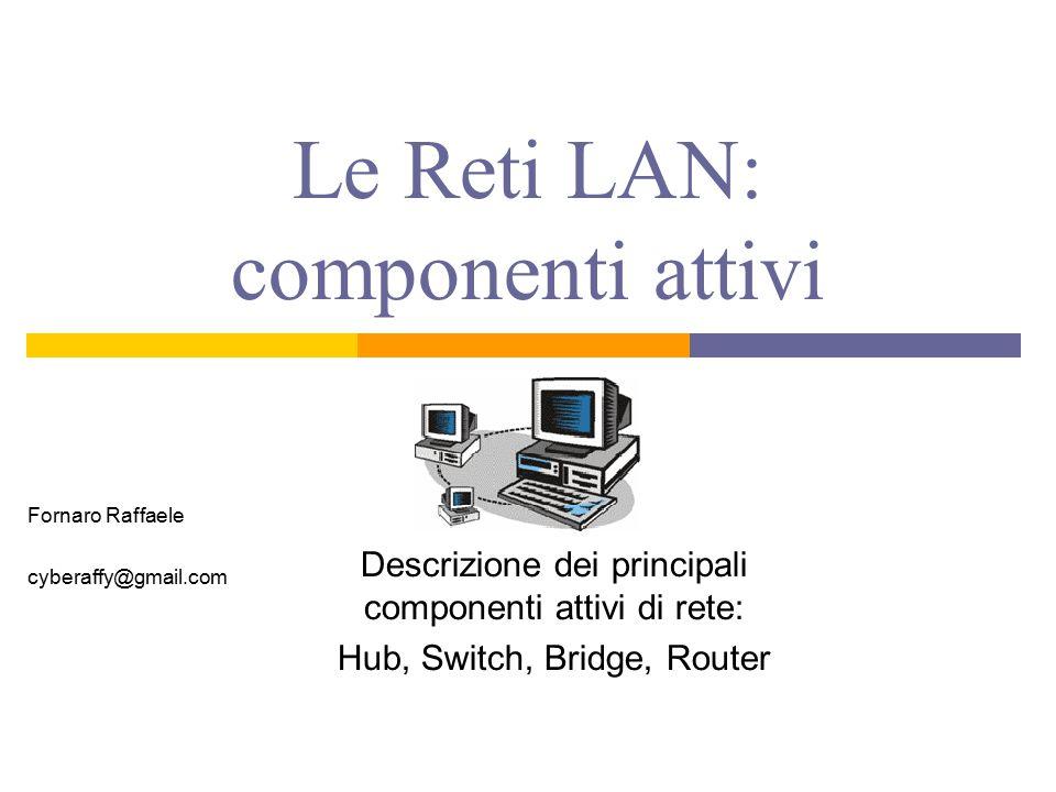 Le Reti LAN: componenti attivi Descrizione dei principali componenti attivi di rete: Hub, Switch, Bridge, Router Fornaro Raffaele cyberaffy@gmail.com